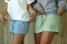 Monogrammed Seersucker Shorts