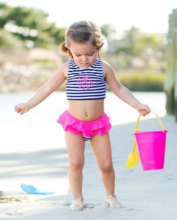 Preppy Stripe Monogrammed Swimsuit - Girls