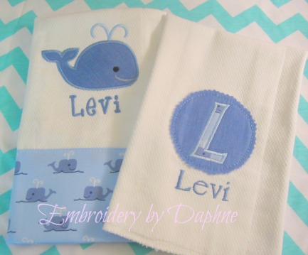 Personalized Burp Cloth Set - Blue Whales
