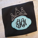 Crown Applique with Monogram Onesie