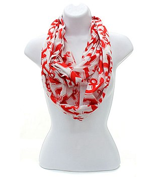 Nautical Infinity Scarf Red
