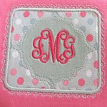 Frilly Patch Applique with Monogram Onesie