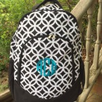 Black Sadie Monogrammed Backpack