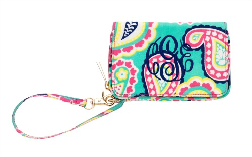 Mint Paisley Smartphone Wristlet - Monogrammed