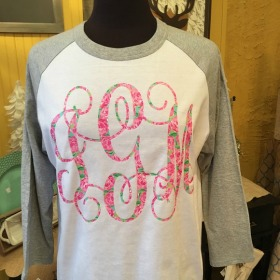 Baseball Tee with Large Monogram