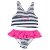 Preppy Stripe Monogrammed Swimsuit - Girls