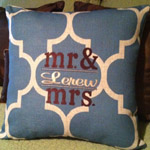 Mr & Mrs Quatrefoil Linen Pillow Cover Personalized
