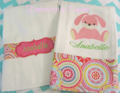 Personalized Burp Cloth Set - Pink Bunny